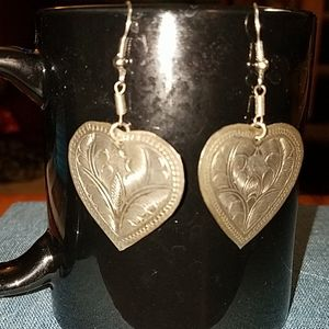 1970's hammered silver earrings.